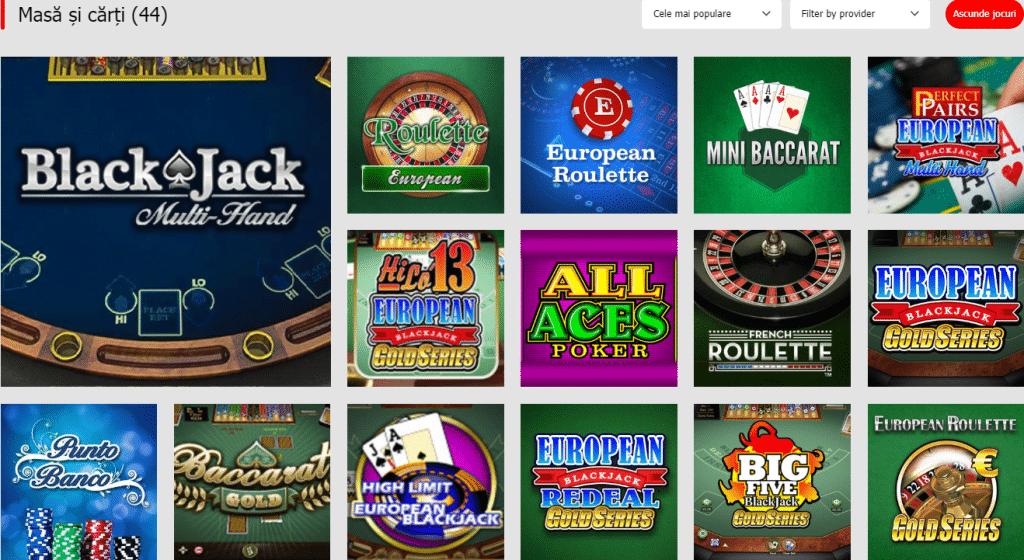Ruleta si jocuri de masa la Winmasters Casino
