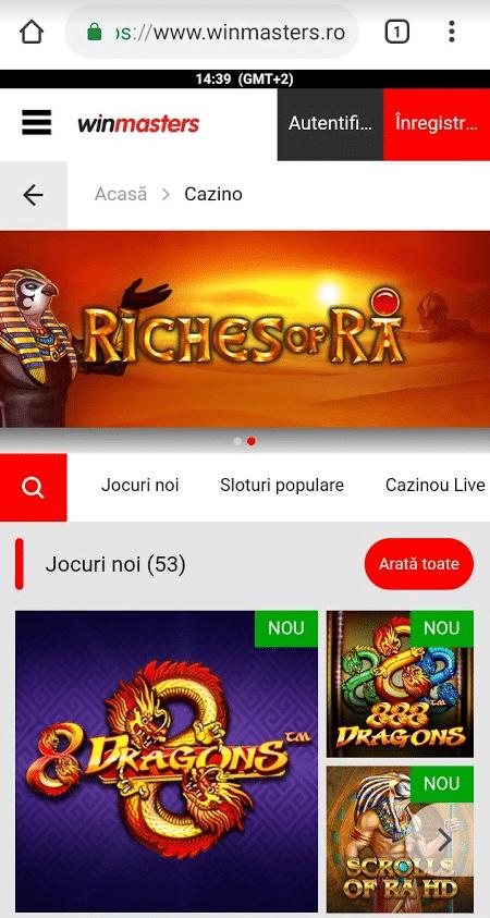 casino winmasters de pe mobil