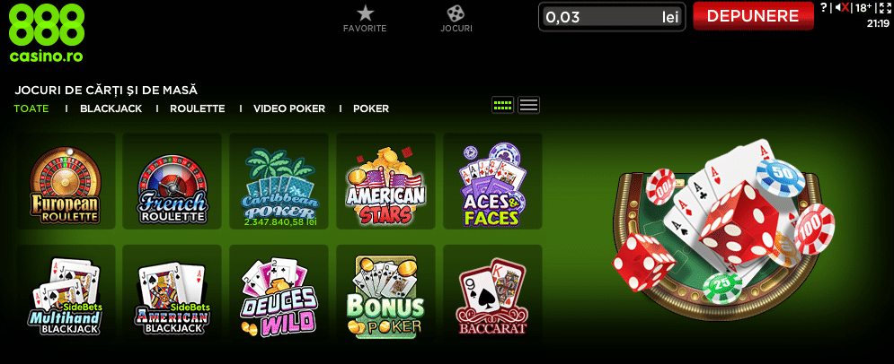 ruleta si jocuri de masa la 888 casino