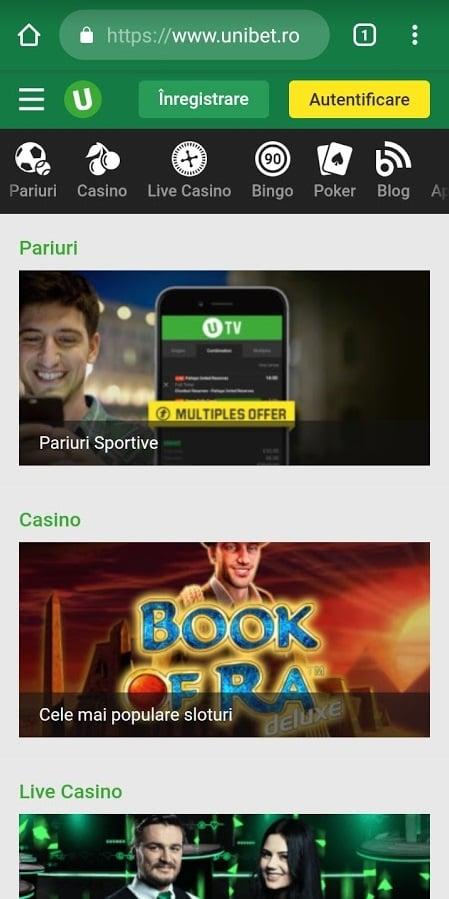 unibet casino de pe mobil