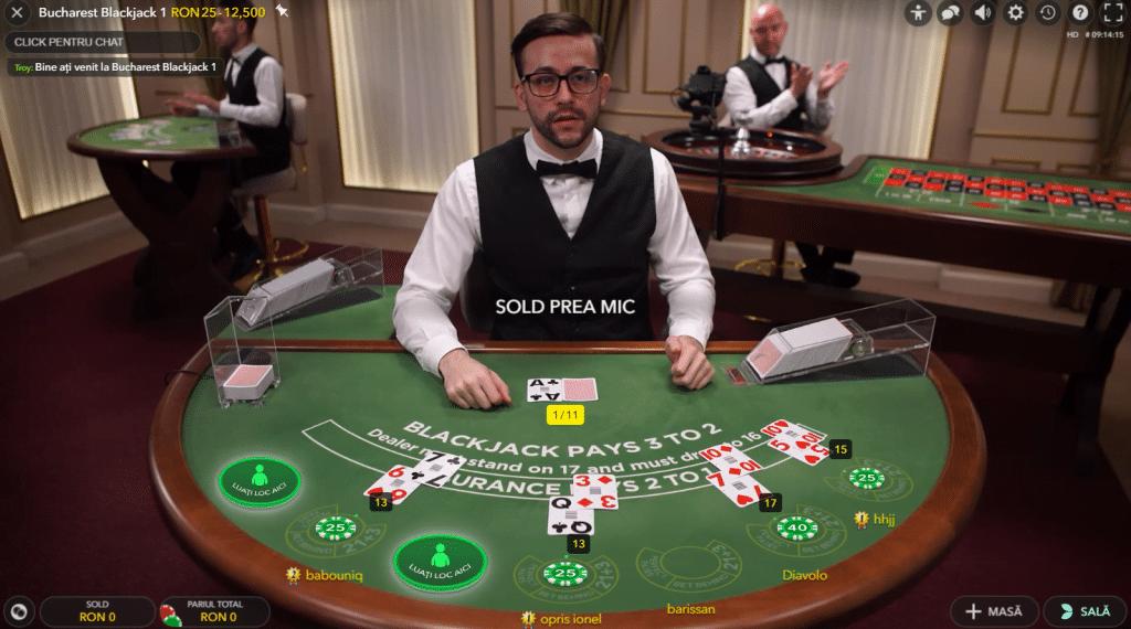 Blackjack live la Vlad Cazino