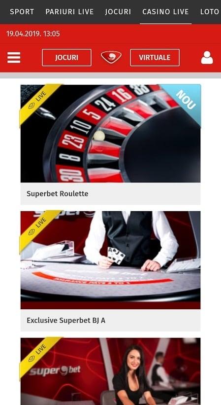 jocuri cu dealeri live la superbet casino mobil