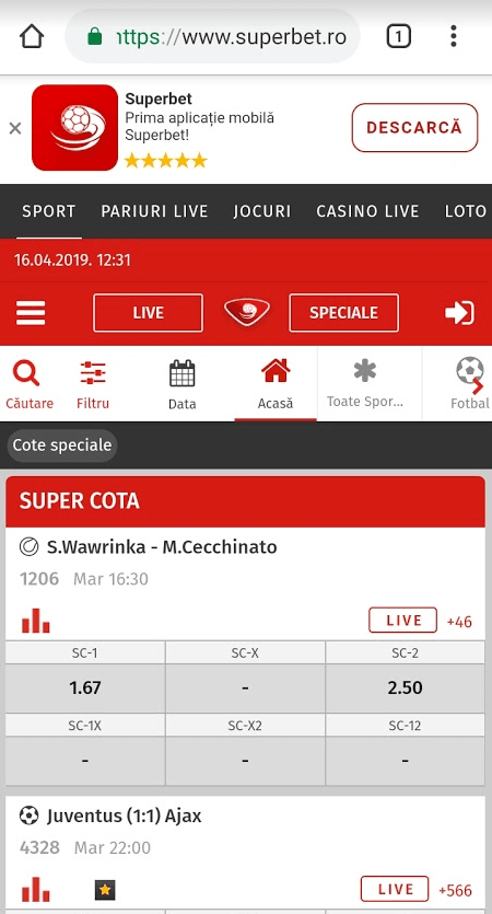 , Aplicatia Superbet Casino