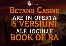 Betano Casino are in oferta 5 versiuni ale jocului Book of Ra