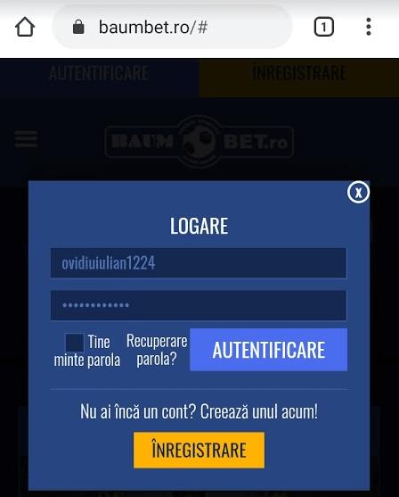 autentificare baumbet cazino mobil