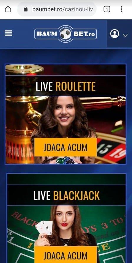 casino live baumbet de pe mobil