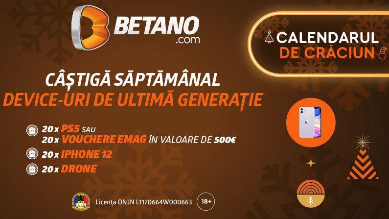 premii zilnice in luna decembrie la betano casino