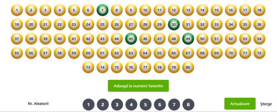 alegere numere la loto online