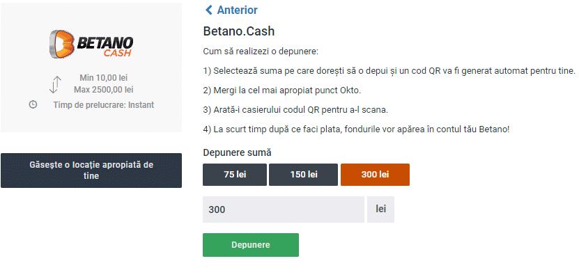 Depunere prin Betano Cash