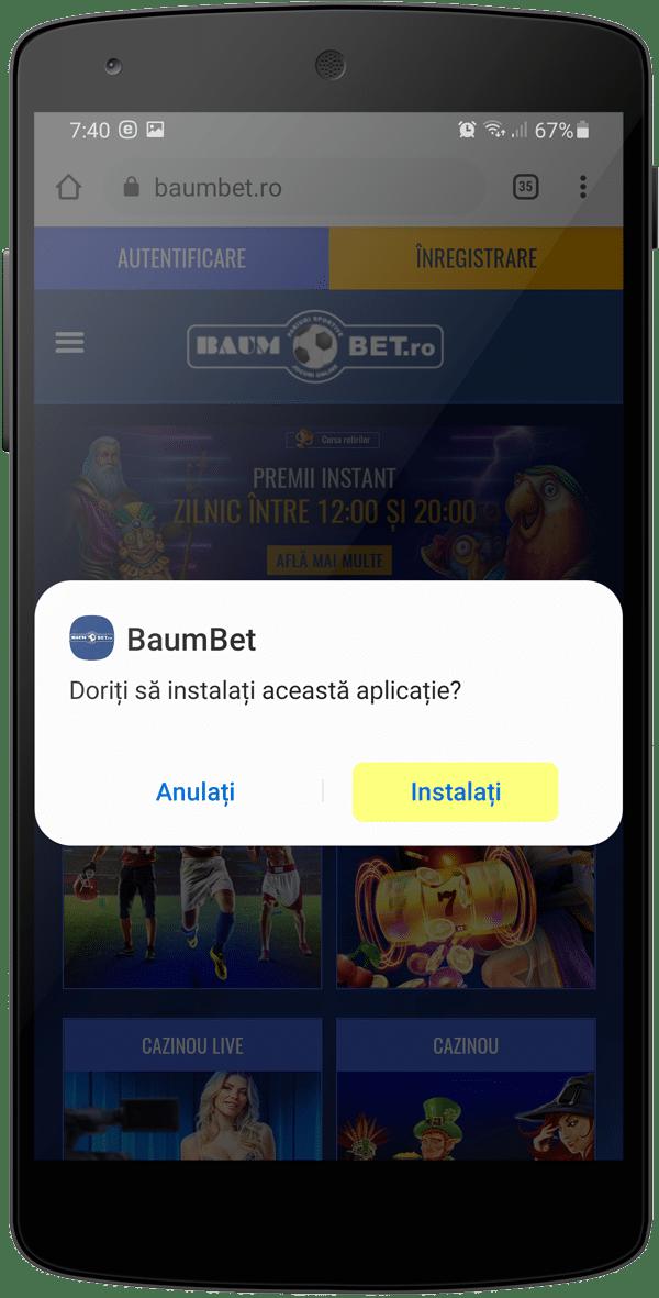 Aplicatia BaumBet Android