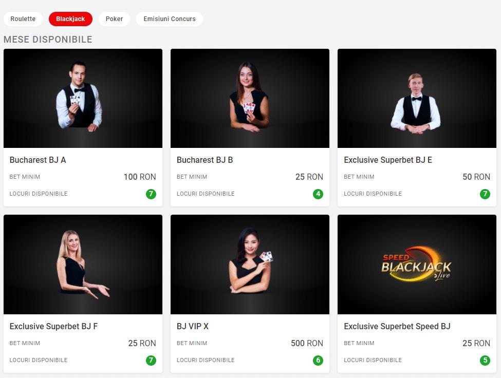 Blackjack la Casino Live Superbet