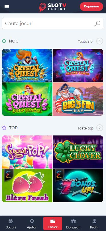 Aplicatia SlotV Casino mobil