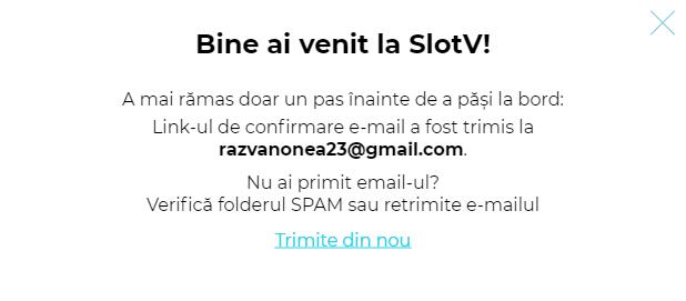 Mesaj confirmare inregistrare SlotV Casino